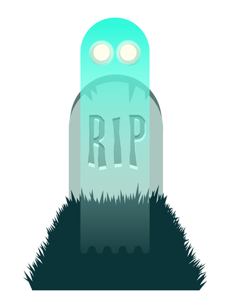 Green ghost rising from a grave Illustration