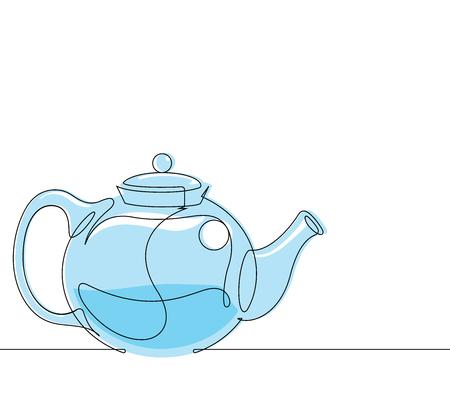 Tea Pot Continuous Line Vector