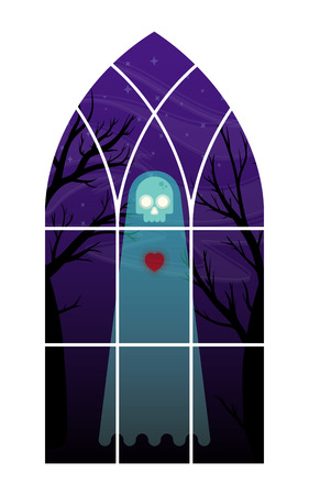 Flat vector illustration of a ghost looking into a window