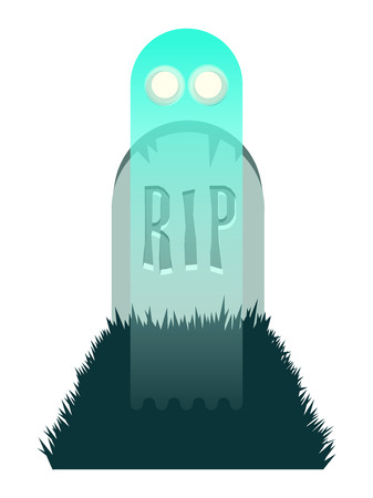 Flat vector illustration of a cartoon ghost rising out of a grave Illustration