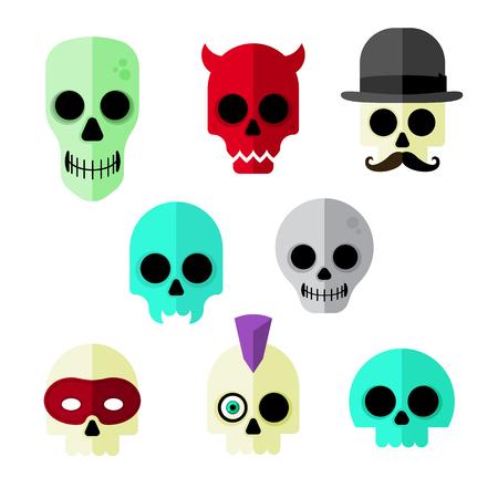 Flat Vector Skull Icons
