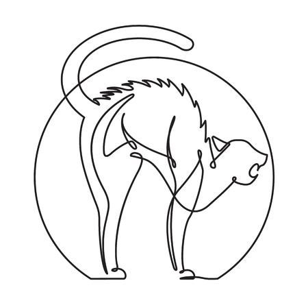Scared Cat Continuous Line vector Cartoon 向量圖像