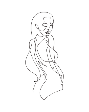 Female Figure Continuous Vector Line Art Banque d'images - 105028230