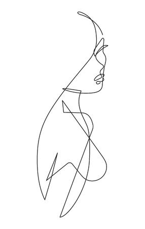 Female Figure Continuous Vector Line Art Banque d'images - 105028245
