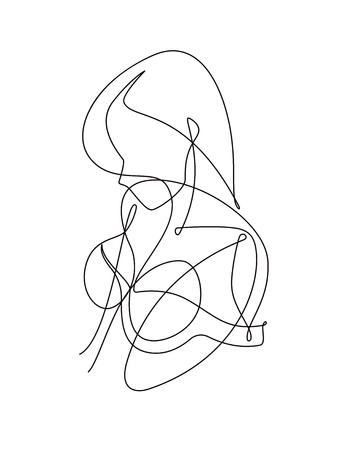 Female Figure Continuous Vector Line Art Banque d'images - 105028249