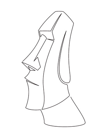 Moai Continuous Line Vector Illustration