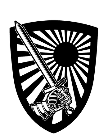 Black and White Shield and Sword Vector Logo or Icon