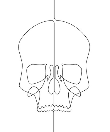 Human Skull Continuous Vector Line Art Illustration III