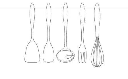 Kitchen Utensils Continuous Line Vector Graphic Çizim