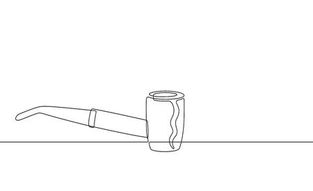 Tobacco Pipe Continuous Line Vector Graphic