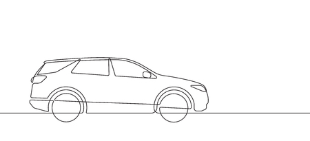 SUV Automobile Continuous Line Vector Graphic