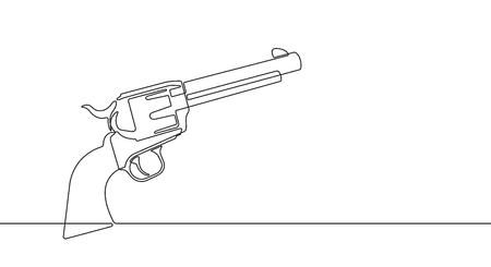 Pistol Revolver Continuous Vector Line Graphic