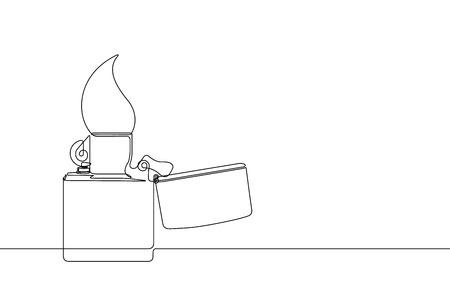 Metal Lighter Continuous Line Vector Illustration Archivio Fotografico - 122787315