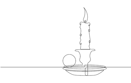 The Candle Continuous Line Vector Graphic Illustration