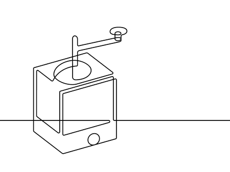 Coffee Grinder Continuous Line Vector Graphic  イラスト・ベクター素材