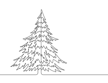 Pine Tree Continuous Line Vector Graphic