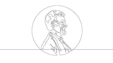 US Penny Abraham Lincoln Continuous Line Vector Graphic Ilustrace