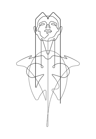 Female Bust One Continuous Line Vector Graphic Illustration