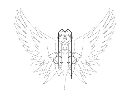 Angel One Continuous Line Vector Graphic Illustration Imagens - 122787332