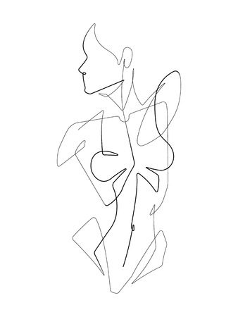 Female Figure One Continuous Line Vector Graphic Illustration
