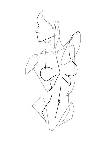 Female Figure One Continuous Line Vector Graphic Illustration Archivio Fotografico - 122787334