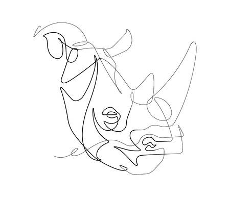 Rhino One Continuous Vector Line Graphic Illustration - Vector