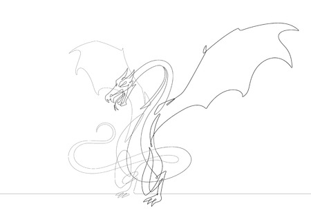 Fantasy Dragon One Continuous Line Vector Graphic