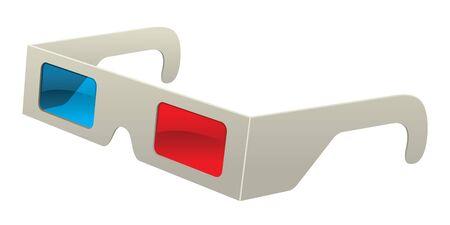 Retro Vector Paper Stereoscope 3D Glasses Graphic Vector Illustration Cartoon Illustration