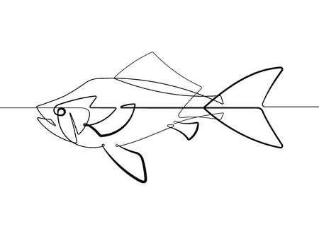 Pet Gold Fish One Single Continuous Line Cartoon Vector Illustration