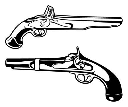 Black and White Antique Black Powder Pistols Vector Graphic Illustration Set Иллюстрация