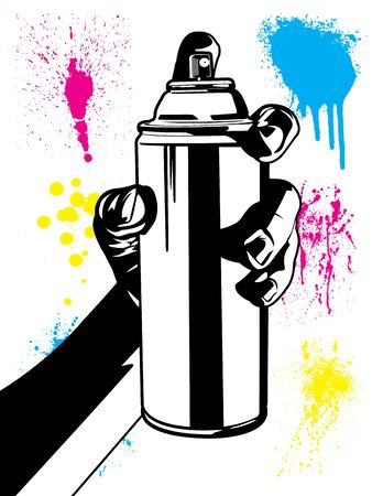 Human Hand Using an Aerosol Can with Paint Splatter Textures Black and White Cartoon Vector Illustration Set