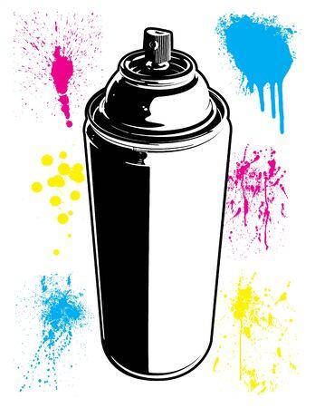 Aerosol Can with Paint Splatter Textures Black and White Cartoon Vector Illustration Set Ilustracja