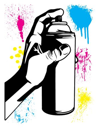 Hand Using an Aerosol Can with Paint Splatter Textures Black and White Cartoon Vector Illustration Set