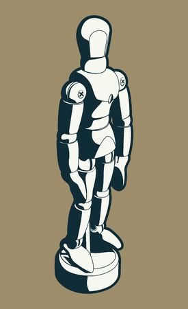 Wood Artist Mannequin Black and White Vector Cartoon Illustration