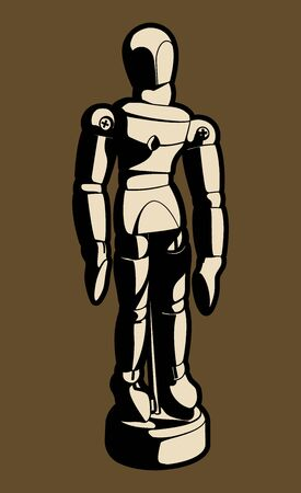 Front View Wood Artist Mannequin Black and White Vector Cartoon Graphic Illustration Çizim