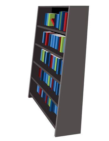 Bookshelf Library and Bookstore Cartoon Vector Graphic Illustration 向量圖像