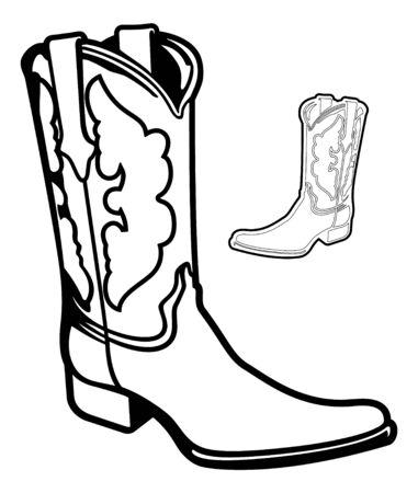 Cowboy Boot Cartoon Vector Graphic Illustration Set