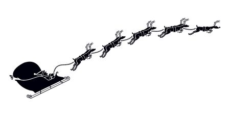 Santa Clauss Sleigh Winter Christmas Holiday Vector Cartoon Silhouette Graphic