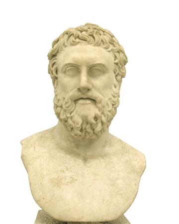 statue grecque: Philosophe, Buste de philosophe grec Banque d'images