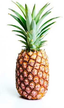 A single pineapple, isolated on white.
