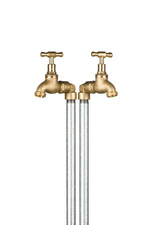 watertap: A pair of gold taps isolated on white.