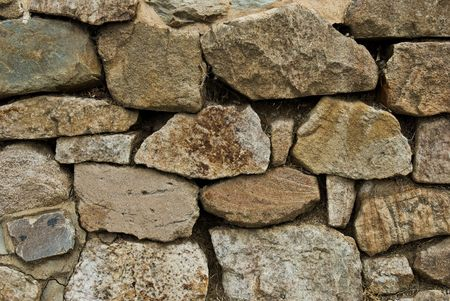 A retaining wall made up of rocks piled on each other. photo