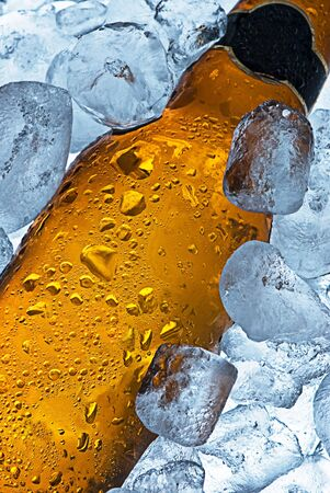 chilled: A close crop of a beer bottle sitting in a container of ice. Cold and ready to drink.