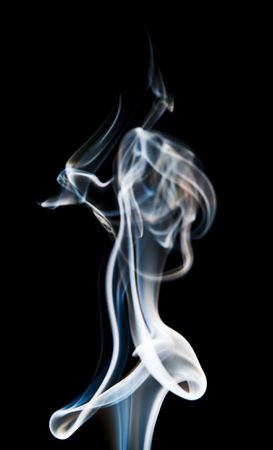A photograph of smoke, isolated on a black background.