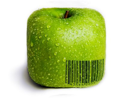encode: A single green apple in the shape of a square isolated on white with water droplets on it. A generic (not real) barcode printed on the apple.