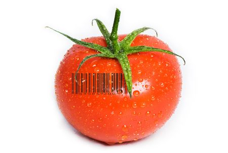 A square tomato isolated on white with water drops on it. The green stem is still attached. A generic (not real) barcode printed on the tomato. Stock Photo - 4580215