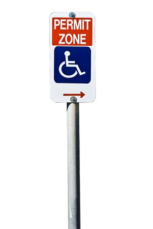 permit: A sign indicating disabled permit parking only isolated on white. Stock Photo