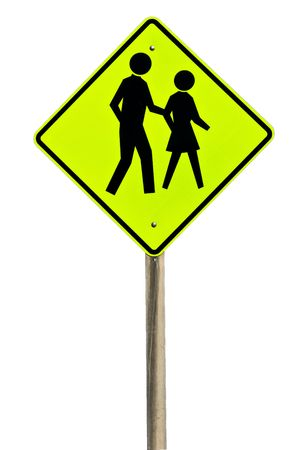 A pedestrian crossing sign isolated on white.