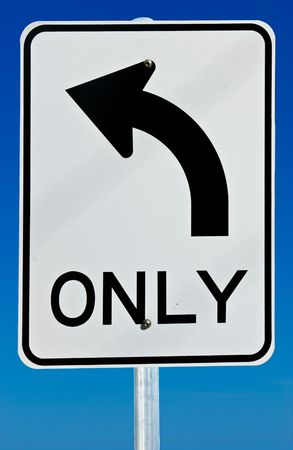 A left turn only road sign isolated on a graduated blue background.