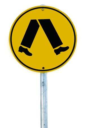 A pedestrian crossing sign consisting of a pair of legs in a circle isolated on white.